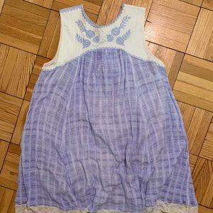 Free People blue and white dress with embroidery